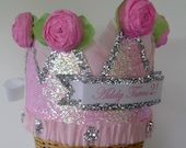 Birthday Party Crown, Birthday Party Hat, Pink Princess Crown, adult or child, customize with any saying or number-