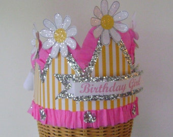 Birthday Hat, Birthday crown,  Party Crown, party Hat - Daisy birthday hat - Adult or Child- customize