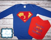 Custom Super Hero Onesie and Bib