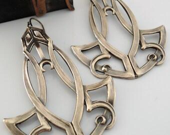 Art Deco Earrings - Statement Earrings - Vintage Earrings - Boho Earrings - Festival Jewelry - Brass Earrings - handmade jewelry