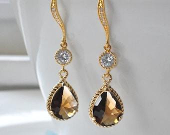 Crystal Glass CZ Gold Earrings, Prom Jewelry Bridesmaid Wedding jewelry, Gold Dangle Drop Earrings, Cubic zirconia Ear Hooks