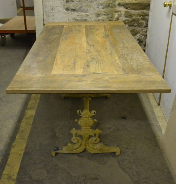 French Farmhouse Table Top with Antique Metal Base by decoratelier