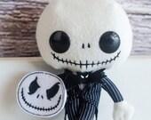 Skeleton Head Clippie, Jack Skellington Inspired Feltie, Toddler Feltie, Girl, Halloween Hair Clip, Fall Barrette, Baby Pigtail Clip