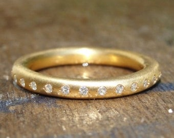 Diamond Eternity Ring, Eternity Wedding Band, Gold Wedding Ring, Anniversary Gold Ring, Handmade Gold Ring - 18K Solid Gold