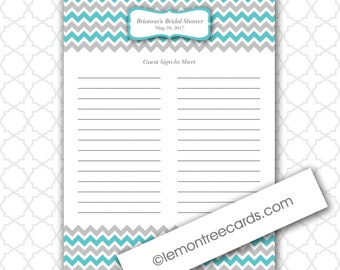 Bridal or Baby Shower Guest Sign In Sheet / YOUR COLORS / printable ...