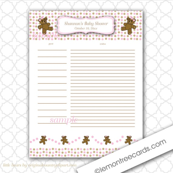similar to pink and chocolate bears baby shower guest sign in sheet