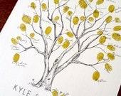 Fingerprint Tree Wedding Guest Book Alternative, Original Hand-drawn Small Cottonwood Design (ink pads sold separately)