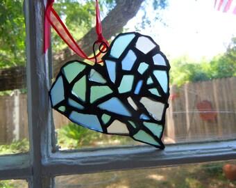 Freeform Sea Glass Mosaic Heart