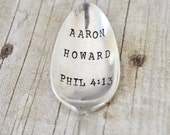 Hand Stamped Vintage Spoon with the Name & Bible Verse of your Choice