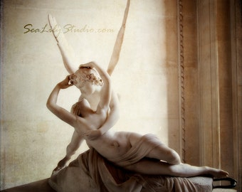 Cupid and Psyche : love eros kiss french louvre paris france romantic sculpture angel statue 8x8 10x10 14x14 16x16 20x20 24x24 30x30