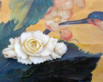 1930's Pale Blue Celluloid Rose Brooch