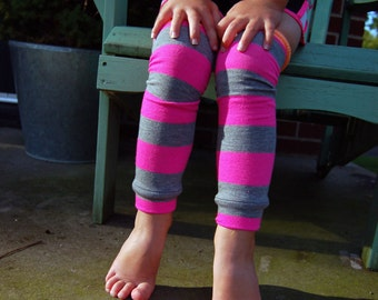 Leg Warmers - Baby Leggings - Pink and Gray Stripes - Infant, Toddler and Little Girls