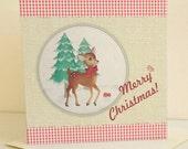 Retro Style Festive Deer Christmas Card