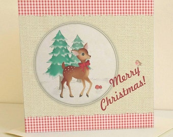 Retro Style Festive Deer Christmas Card