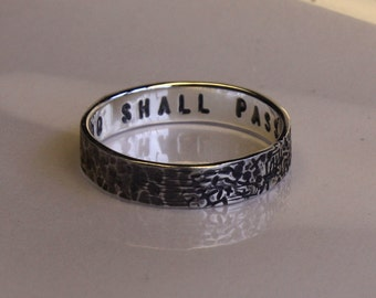 The WHATEVER 4mm x 1mm or 5mm x 1.25mm ring. This too shall pass. Philosophy, history, art in unique distress design. Custom text optional