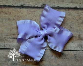 Lavender Double Ruffle Stackable Bow 4 Inch