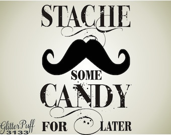 Weddings Rubber Stamp - Vintage Old Fashioned Candy Bag -  Stache Some Mustache Treat Bag -  (g3133)