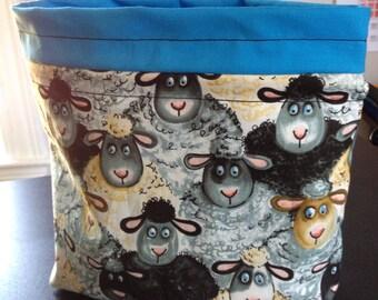 Happy Sheep Drawstring Knitting Bag