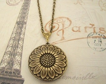 Golden Sunflower Locket Wedding Jewelry Bride Bridesmaids Daughter Wife Birthday Graduation Mother Sister Gift Brass Photo Picture - Kristi