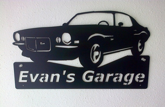 Personalized Man Cave Classic 1970 Chevrolet Camaro Garage Sign Satin Black Car Art