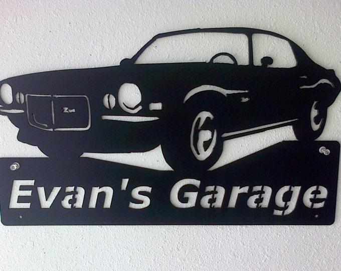 1970 Chevrolet Camaro Personalized Man Cave Classic  Garage Sign Satin Black Car Art