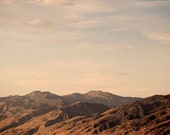 Rugged Mountain Photograph, Rustic Brown Mountains at Sunset, Mountain Art