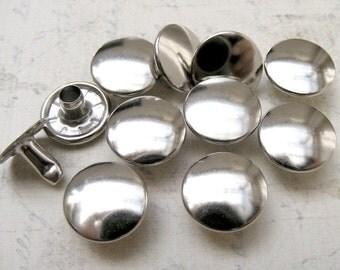 50 sets 13mm Silver / nickel FLAT Round Rapid Rivet Stud