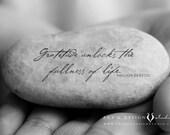 Gratitude Stone, Gratitude Rock, Wall Art Print, Mindful, Black and White Photography, Gratitude Quote, Meditation Art, Zen Art Print