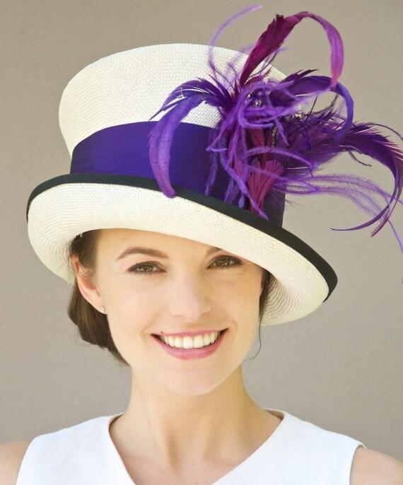 Kentucky Derby Hat, Ascot Hat, Mardi Gras Hat, Mad Hatter Purple Hat. Formal Hat