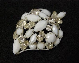 Vintage Regency Jewels Strawberry Brooch Broach White and Clear Rhinestones