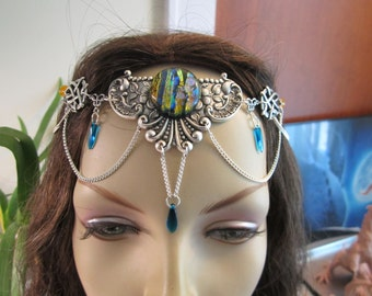 Shimmering Circlet of the Autumn Skies Elven Celtic Druid LARP Bridal Renaissance Cosplay