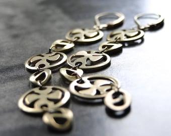 Jewelry, Statement Earrings, Dangle Earrings, Textured Brass Earrings, 14k Gold Filled Hoops, Gift for Her, Gift Box