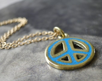 SALE Bohemian Necklace Spring Jewelry, Peace Symbol Necklace, Inlaid Turquoise Pendant Necklace, Boho Chic, Gift for Her, Accessories