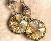 Golden Champagne Earrings Swarovski Crystal Antique Gold Dangle Earrings Honey Citrine Crystal Earrings Golden Drop Earrings