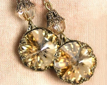 Golden Champagne Earrings Swarovski Crystal Antique Gold Dangle Earrings Honey Citrine Crystal Earrings Golden Drop Earrings
