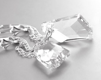 Ice Clear Crystal Earrings Sterling Silver Earrings Swarovski Crystal Clear Drop Earrings