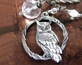 Silver Owl Necklace Oxidized Sterling Silver Chain Necklace Botanical Woodland Silver Owl Pendant Necklace Owl Jewelry Fall Fashion