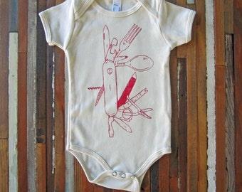 Organic Baby One Piece - Screen Printed Baby Bodysuit - Pocket Knife - Eco Friendly - Handmade - Infant One Piece - Organic Baby Clothing