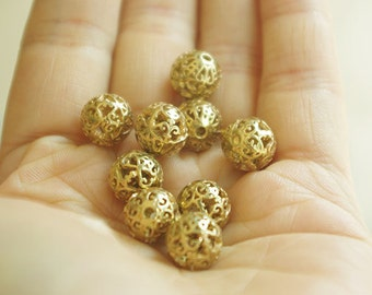 3pcs of brass hollow  bead