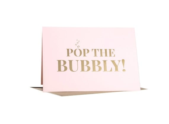 HOLIDAY SALE!!! Gold Foil Holiday Greeting Card, Pop the Bubbly Greeting Card, Single Card by Abigail Christine Design