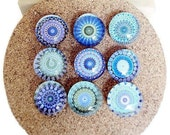 Glass Push Pins in Shades of Blue, Green and White