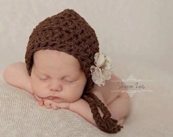 Flower Bonnet Hat Brown Newborn Cotton Bonnet Photography Prop