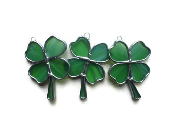 Stained Glass Green Clovers - Set of 3 Shamrock Suncatchers for St Patricks Day