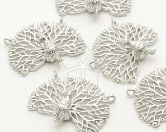 PD-612-MS / 2 Pcs - Peacock Pendant, Matte Silver Plated over Brass / 20mm x 16mm