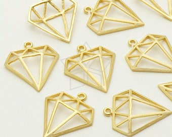 PD-695-MG / 2 Pcs - Diamond Shape Pendant, Matte Gold Plated over Brass / 14mm x 16mm