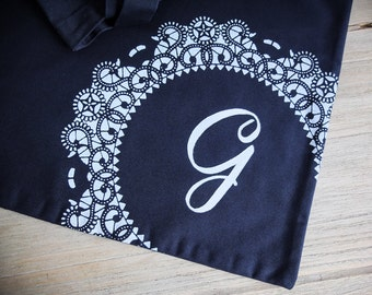 SALE Doily Tote Bag Personalized with Letter G Monogram Navy Blue / Screenprinted Doily Lace Gift for Woman Gift under 25