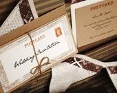Vintage Travel Wedding Invitation - with kraft envelope - SAMPLE