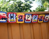 Choo Choo Train Theme Happy Birthday Banner - Fully customizable to your party colors and theme