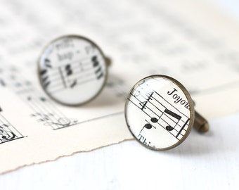 Music Sheet Cufflinks made from Actual Vintage Musical Sheets, Unisex Cuff Links for Musicians, Gifts Under 25