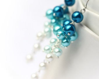 Ombre Blue to White Wedding Bridesmaid Jewelry Pearl Cluster Long Earrings Gradient Color from Dark Blue to White